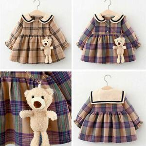 Toddler Baby Girls Kids Tops Plaid Party Tutu Princess Mini Dress TOY BEAR Gift#