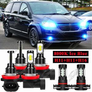 For Dodge Grand Caravan 2011-2019 Ice Blue LED Headlight Bulbs High Low Fog