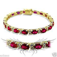 Ladies Brilliant Ruby Red Top Grade Garnet Gold Plated Tennis Bracelet 415505