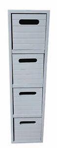 Grey 4 Drawer Free Standing Bathroom/Bedroom Wooden Cabinet Storage Unit 0314