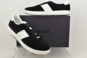 NIB PRADA 4E3352 BLACK SUEDE WHITE LEATHER STRIPE LACE UP LOW TOP SNEAKERS 10