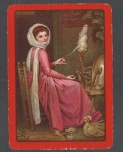 Swap Playing Cards 1 WIDE VINT ENG  LADY  SPINNING  BIRDS  MASTER PAINTING 155EW