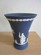 Antique 1800s Wedgwood Jasperware dark blue Trumpet vase 6""