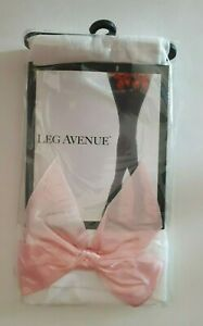 Leg Avenue Women Opaque Hold Up White Stockings with Pink Bow Designer Hosiery