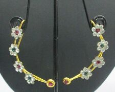 Indian Fashion Jewelry Bollywood Gold CZ Ear Cuff Clip Earrings Earcuffs Sets
