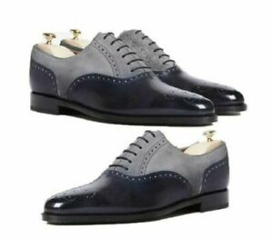 Handmade Men's Black & Gray Brogue Toe Leather & Suede Derby Dress Shoes