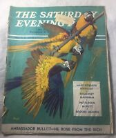 The Saturday Evening Post March 1939  Blue Gold macaw parrots