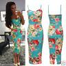Celebrity Keegan Inspired  Womens Ladies Strappy Cami Floral Midi Bodycon Dress