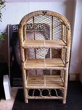 Vintage Rattan bamboo cool peacock WICKER cane RETRO 70's STYLE SHELF BOOKCASE