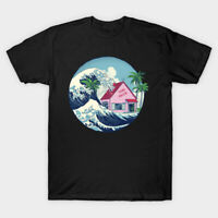 The Great Wave At Kame House Dragon Ball Japanese Aesthetic Mashup Black T-shirt