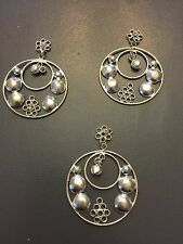 Vintage India Silver M. Haskell Bold Round Open Bubble Circle Findings Drop Lot
