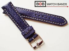 BOB ECHT HAIFISCH LEDERUHRBAND Navy-blau 20mm Echt-Hai BLAU f. Swiss Chronograph