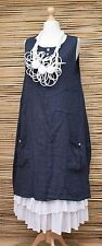 LAGENLOOK LINEN ASYMMETRICAL A-LINE 2 POCKETS LONG DRESS**NAVY**BUST UP TO 46""