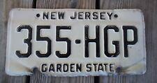 Vintage New Jersey License Plate 355-HGP Garden State Black on White Metal
