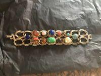 Vintage Bracelet Chainlink Goldtone Metal and Multi Color Oval Stones