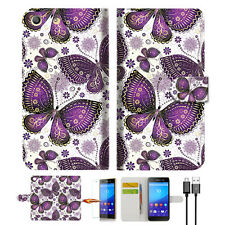 Purple Butterfly Wallet TPU Case Cover For Sony Xperia M5 -- A017