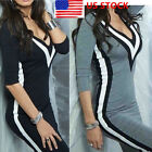 US Womens Long Sleeve Bodycon Jumper Dress V Neck Striped Short Mini Party Dress