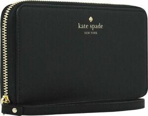New Kate Spade Zip Wristlet Case Wallet Purse for Cell Phones Black Saffiano