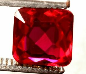 10.70 Cts  Natural Mozambique Red Ruby Faceted Square Cut Certified Gemstone