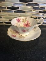 Vintage Queen Anne Pink Columbine Flower Footed Tea Cup & Saucer Bone China Gold