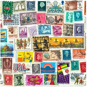 10 STAMPS FROM WORLD COUNTRIES. MIXED PHILATELY, USED POSTAGE STAMPS OFF PAPER