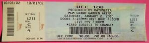 UFC ULTIMATE FIGHTING UFC 108 ORIGINAL USED TICKET MGM LAS VEGAS, JAN 2 2010