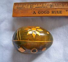 "Vintage Hand Carved Wood Inlay Trim Brown Tan Beige Color Easter Egg 2"" Inch"