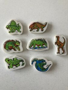 Vintage 80s Erasers Rubbers - Set Of Dinosaur Erasers, Labelled & Marked Taiwan