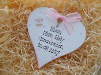 First Holy Communion  Wooden Heart Plaque Keepsake Gift