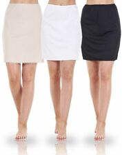 Ladies Plain Anti Cling Cooling Waist Half Slip Underskirt Petticoat