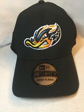 Akron RubberDucks New Era 39Thirty Cap Hat Indians Adult Fitted L/XL Black