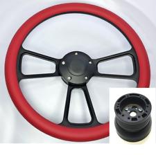 "14"" Black Billet Forever Sharp Red Steering Wheel Horn Button & Hub Adapter"