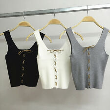 Women Crochet Bralette Knit Vest Lace Bra Beach Bikini Halter Crop Top Cami Tank