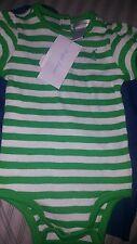 Ralph Lauren Baby Girls Green/White Striped Short-sleeved Bodysuit (6M) NWT