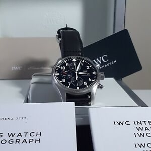 W/Box and Papers 2017 IWC Pilot Chronograph Steel Automatic 43 mm Watch IW377709