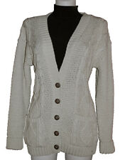 LADIES V NECK BOYFRIEND CABLE KNIT CARDIGAN - BEIGE S/M - CLEARANCE - RRP £15.99