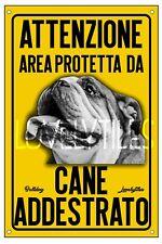 BULLDOG INGLESE AREA PROTETTA TARGA ATTENTI AL CANE CARTELLO PVC GIALLO