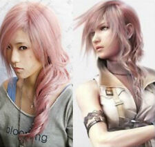 Final Fantasy XIII 13 Lightning Long mixed Pink Cosplay Fashion Hair Wig AE239