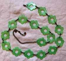 CHIC VINTAGE 60S RETRO GREEN LUCITE FLOWERS GOGO BELT COOL EVENING DAY FESTIVAL