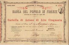 * AZIONE - Banca del Popolo in Firenze, Lire 50 1865
