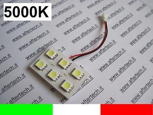 PANNELLO 6 LED SMD5050 BIANCO 5000K T10 BA9S SILURO L15