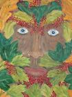 Original acrylic painting on canvas - The Oak King - Autumnal Green Man 20 x 16
