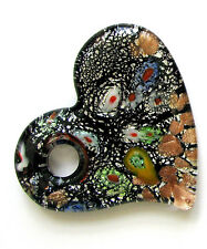 "Black Millefiori Heart Shape Glass Bead Pendant with Hole New 2"" x 1.75"""