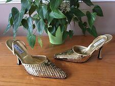 L.K Bennett gold leather gold sequin slingback court shoes UK 7 EU 40 Bridal