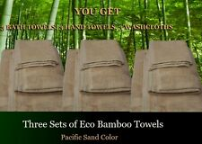 Lot of 3 Bamboo bath towel sets , Pacific Sand / Beige