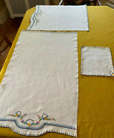 Set Lot 3 Pieces of Matching Table Linens Hand Embroidered, Blue White Pink Gold
