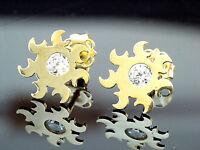 333 Gold Sonnen Ohrstecker 1 Paar 8,5 mm Grösse mit gefassten Zirkonia Steinen
