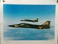 "General Dynamics F-111 Aardvark Fighter Aircraft Over Europe 17"" x 22"" Print VTG"