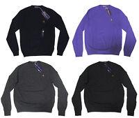 $695 Ralph Lauren Purple Label Mens Slim Wool Equestrian Crew Pony Logo Sweater