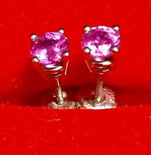 Palladium High Quality Pink SAPPHIRE Solitaire Studs earrings Approx 0.75CTW